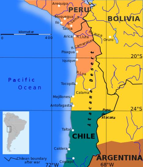 En amarillo territorio de Bolivia antes de la Guerra del Pacífico. En anaranjado territorio de Perú antes de la Guerra del Pacífico. En verde territorio de Chile antes de la Guerra del Pacífico.