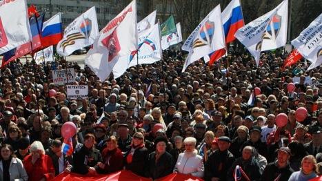 Manifestaciones pro adhesión a Rusia en el este de Ucrania. Foto:  RIA Novosti Irina Gorbaseva.