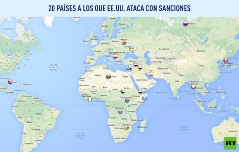 Todo el planeta es propiedad del gobierno de EE.UU.  En el mapa los países contra los que la Casa Blanca aplica sanciones de varios tipos.