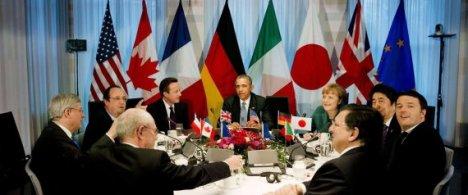 El G-7, reunido en la casa del primer ministro holandés durante la Cumbre sobre Seguridad Nuclear. |