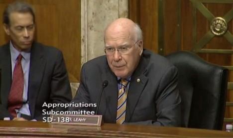 senador Patrick J. Leahy durante la audiencia senatorial.