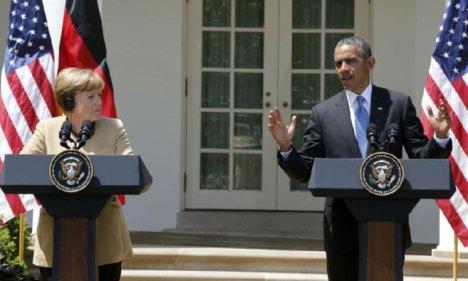 La canciller alemana y el presidente de EEUU, en la comparecencia conjunta de hoy en la Casa Blanca. Foto: REUTERS.