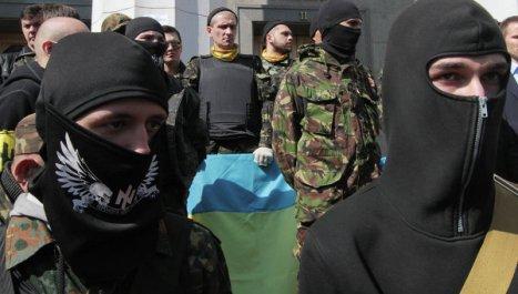 Neonazis ucranianos de Pravy Sektor. Foto: © RIA Novosti. Gregory Vasilenko.