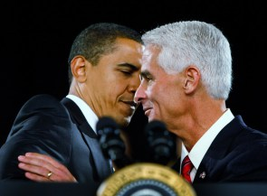 El ex gobernador  Christ saludando al presidente Barack Obama.