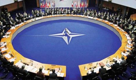 Sesión en la cual los cancilleres de los 28 países de la Organización del Tratado del Atlántico Norte (OTAN) analizaron  la posible instalación de bases permanentes en sus miembros ubicados en Europa del este para presionar a Rusia.