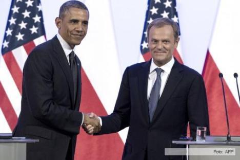 Obama y el presidente polaco Bronislaw Komorowski. Foto: AFP.