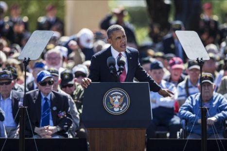 Por supuesto que Obama en los pomposos festejos por Normandía se sumó a la maniobra mediática de tergiversación de la historia.