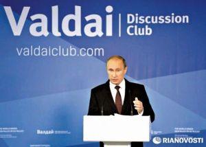 El Jefe de Estado ruso durante su discurso en el XIº Encuentro Internacional de Valdai.  Foto: Ria Novosti.
